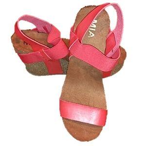 Mia pink cork wedges